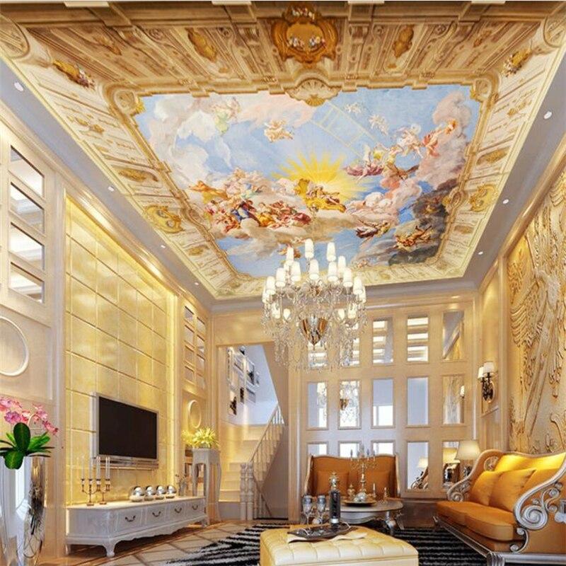Wellyu Custom Wallpaper 3d European Integrated Ceiling Fresco Zenith Painting Church обои Background Papel De Pared 3d Wallpaper