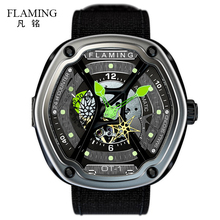 FLAMING Dietrich Series Organic Time OT-1 Green Watches Men Luxury Fashion Wristwatches with Miyota 82S7 Auto Movement Gift