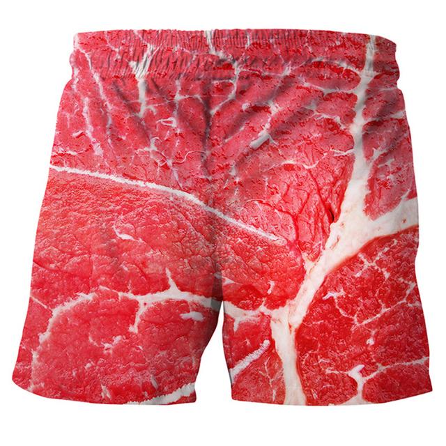 Summer Men Women Meat Pattern 3D  Funny Print Beach Shorts Pants