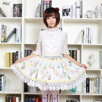 Summer 2018 Japanese Style Lace Skirts Womens Apricot Cute Soft Sister Easter Eggs Rabbits Printed Pleated
