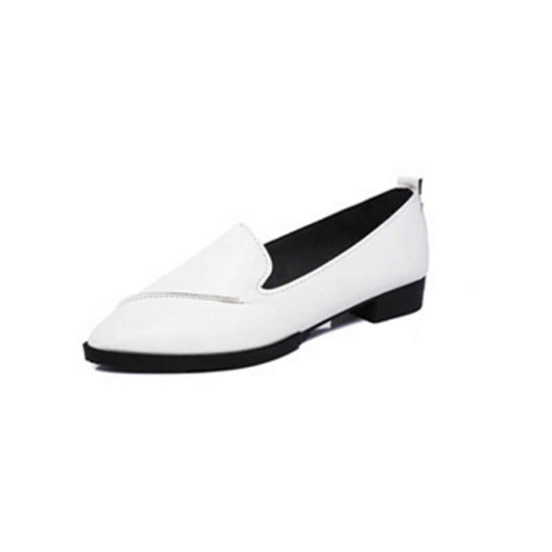 HUANQIU New Nhãn Hiệu Thời Trang Mùa Thu 2017 Phụ Nữ Căn Hộ PU Toe Nhọn căn hộ Woman Casual Shoes Oxfords Với May Căn Hộ Giày FM 19