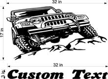Jeeps Rock Car Racing Vinyl Wall Decal Art Sticker Man Cave Decor Boys Room Decorative Stickers Car size17inX32in Name 3inX32in