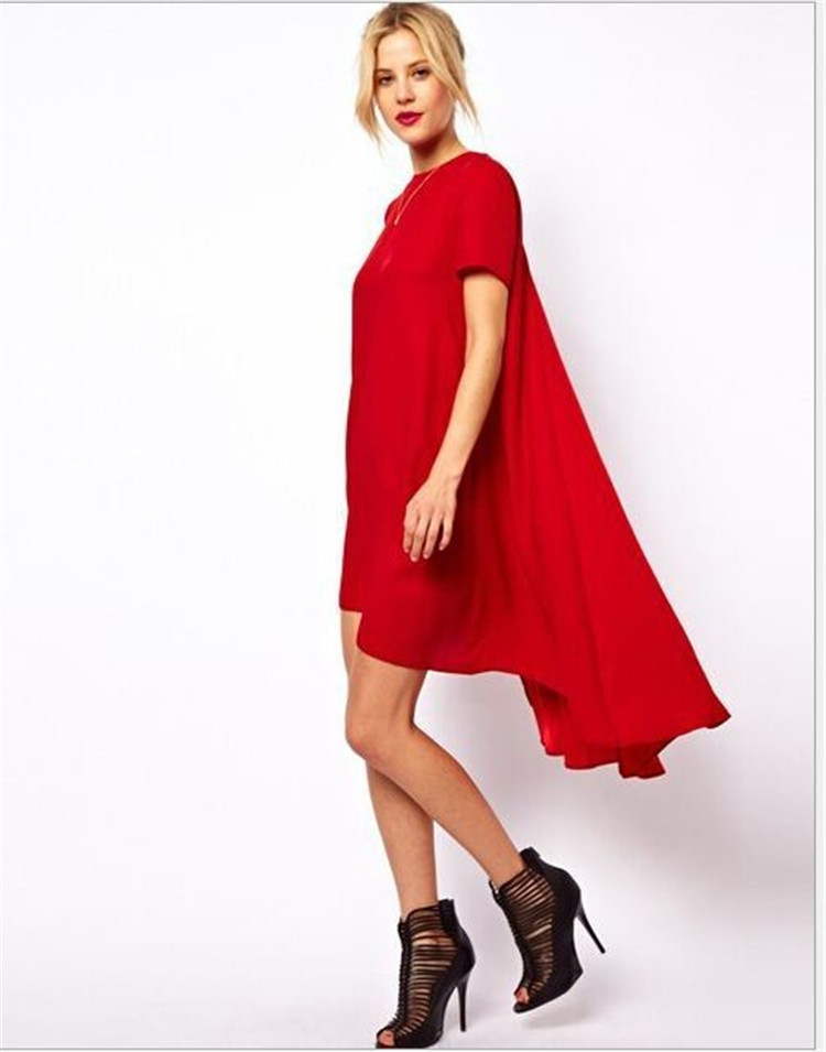 Длинный короткий подол платья