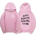 Розовый Анти Социальные Social Club Толстовки Мужчины Женщины Высокое Качество 1:1 С Капюшоном Агос Пуловер Anti Social Club Толстовки Мужские