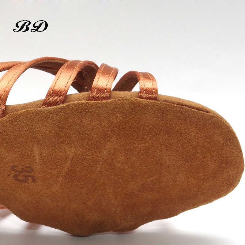 أحذية رياضية أحذية للرقص أحذية نسائية لاتينية للحفلات أحذية بني عالية الجودة للنساء للرقص ومقاومة للاهتراء نعل BD 216 من الساتان