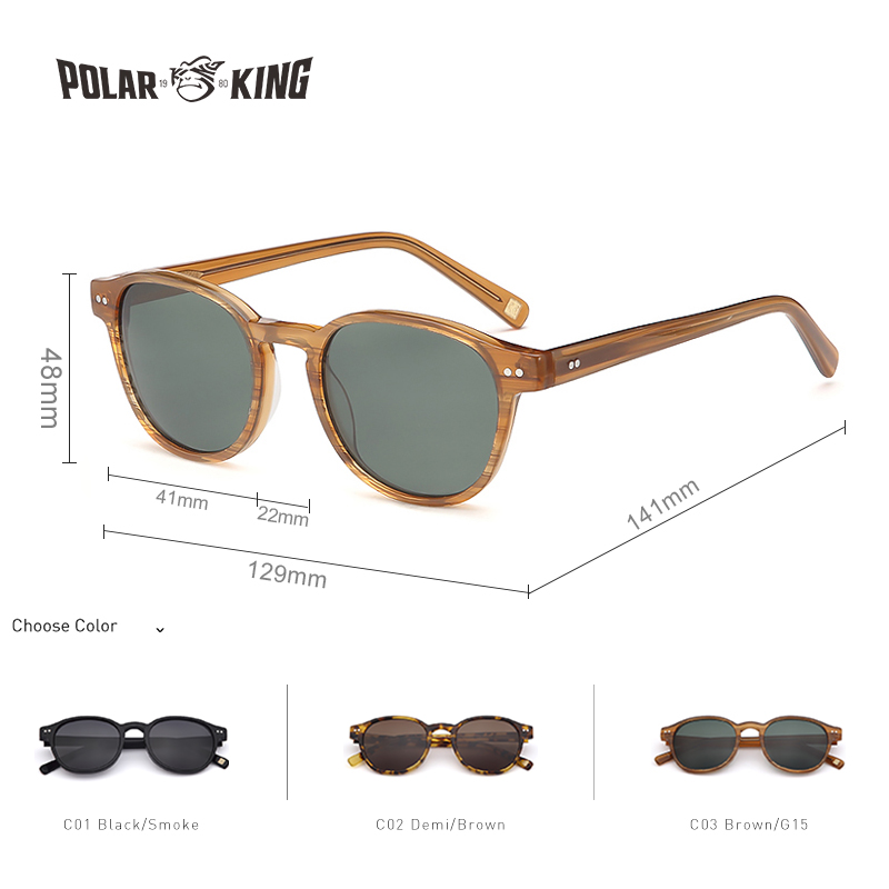 Image 3 - POLARKING Brand Vintage Designer Polarized Sunglasses For Men Traveling Unisex Acetate Round Sun Glasses Driving Eyewear Oculosbrand polarized sunglassespolarized sunglassespolarized sunglasses brand -