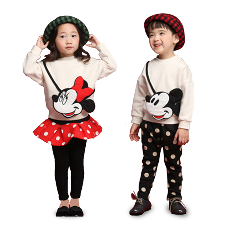 цена на hot Baby girls clothing sets cartoon minnie 2017 winter children wear cotton casual tracksuits kids clothes boy sports suit hot