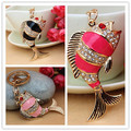 2014 New Creative Lovely Carp Fish Crystal Purse Bag Key Chain Gift Free Shipping