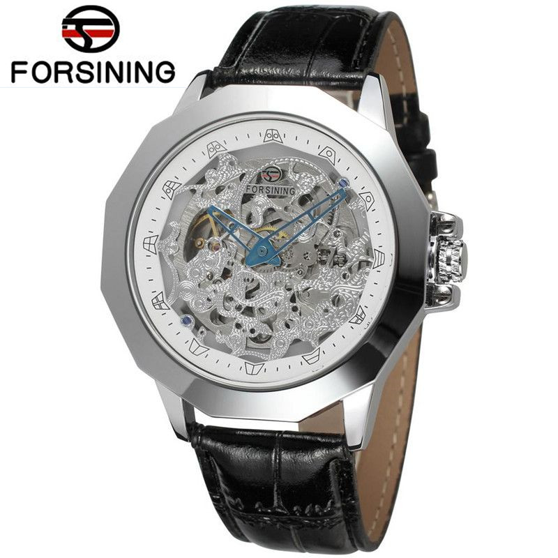 New 2017 Forsining Montre Homme Men's Hollow Out Auto Mechanical Watch Wristwatch  Gift Free Ship