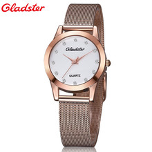 Gladster Fashion Rose Golden Women's Diamonds Wrist Watches Top Luxury Brand Ladies Quartz Clock Female Bracelet Wristwatch 2016