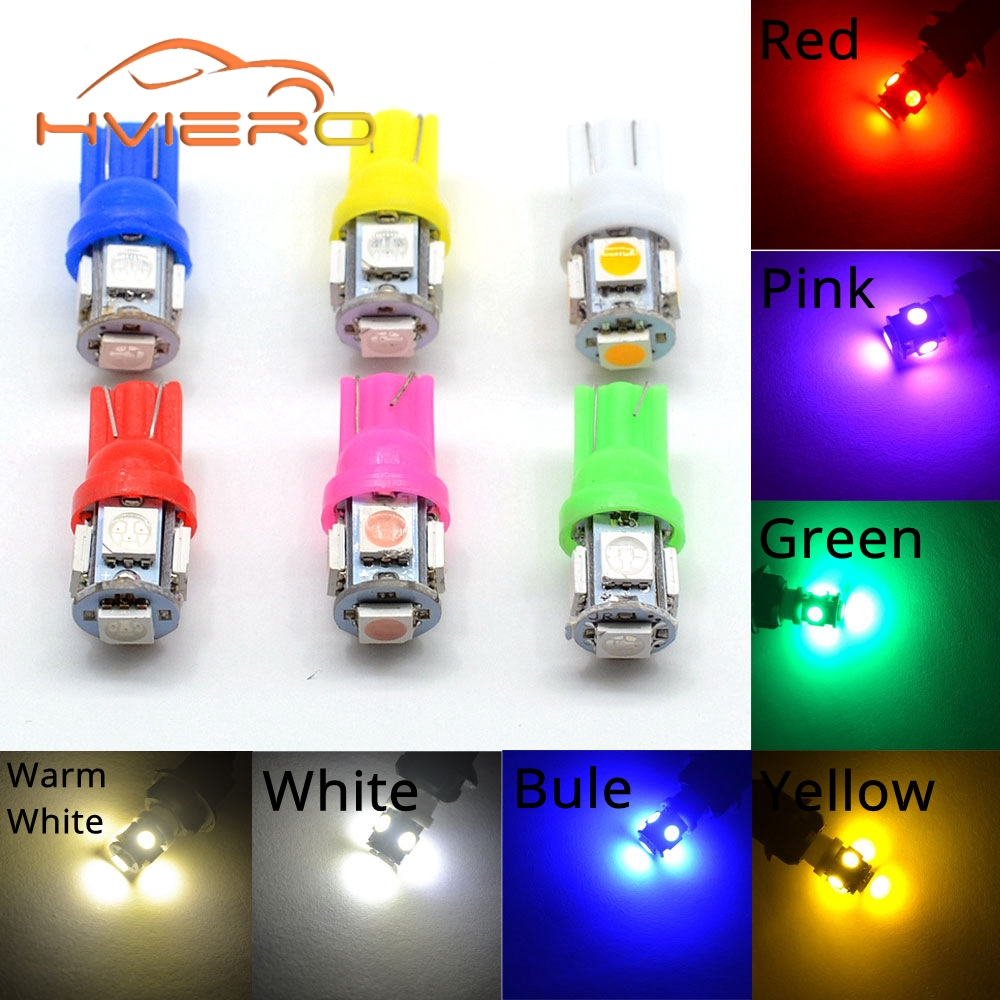 White Red Blue Pink Yellow Green T10 W5W Wedge 5SMD 5 SMD 5050 Car LED Light Bulbs 2825 158 192 168 194 193 Bulb Car Lamp DC 12V moonbiffy hot 10pcs car interior light t10 wedge 5 smd 5050 xenon led light bulbs 192 168 194 w5w 2825 158 white