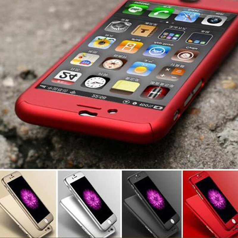"360 Degree Front Back Full Body Protective Skin Cases for cover iPhone 6 Case iphone 6s funda 4.7 ""with Tempered Glass Film"