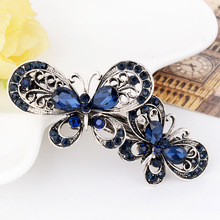 цена на Women and Girls Hair Grip Retro Crystal Stud Butterfly Fashion Elegance Hair Dress and Accessories Royal Blue Free Shipping