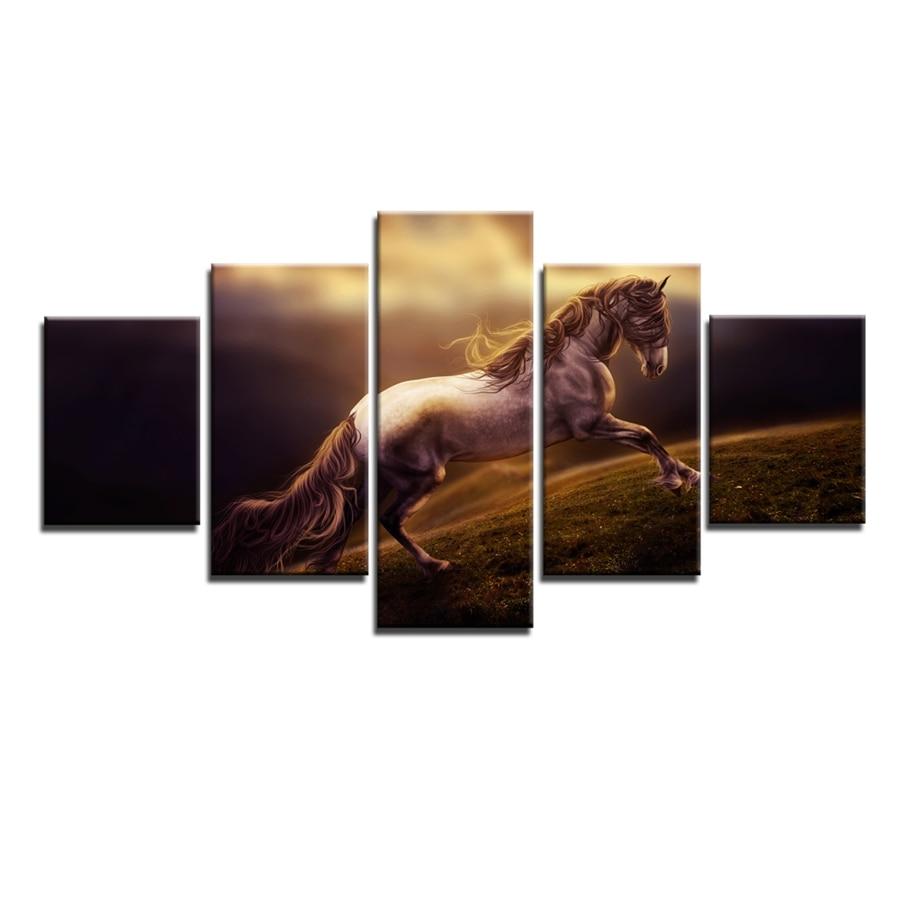 Lukisan Minyak Kuda Gallop Kuat pada Kanvas Rumah & Ruang Tamu - Hiasan rumah - Foto 4