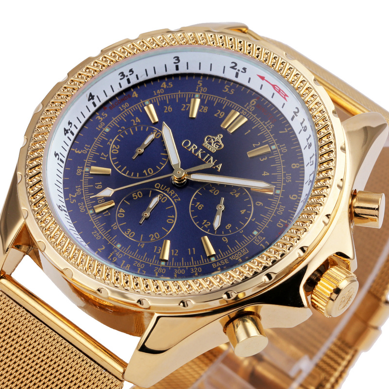 Multifunction Sub-dial ORKINA Men Vogue Luxury Quartz Watch Golden Mesh Metallic Strap Blue Round Dial Hot Sale Classic Gift classic luxury formal unisex dress quartz men women wrist watch rose golden metallic strap decorational subdial gift box