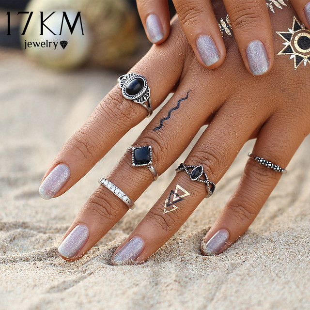 Fashion Bohemian Turkish Midi Ring Set Steampunk Knuckle Rings for Women Vintage Anel Joint Ring 5PCS/Set
