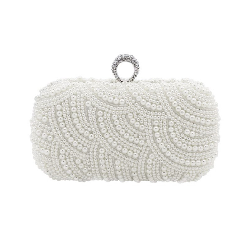 цены The Hand made Luxury Pearl Clutch bags Women Purse Diamond Chain white Evening Bags for Party Wedding black Bolsa Feminina