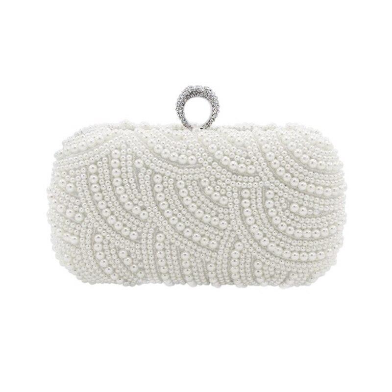 Le fait À la Main De Luxe Perle Embrayage sacs Femmes Sac À Main Diamant Chaîne blanc Sacs de Soirée pour la Partie De Mariage noir Bolsa Feminina