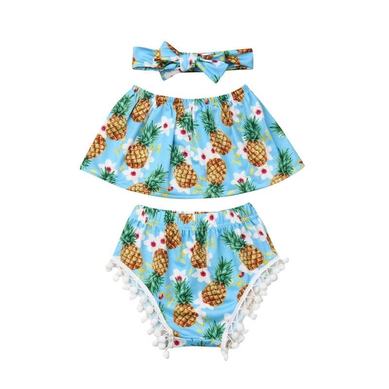 2019 Appena Nato Del Bambino Delle Ragazze Ananas Floreale Vestiti Dalla Spalla Senza Spalline Crop Top Nappe Shorts Fascia 3 Pcs Outfits Set 0 -24 M