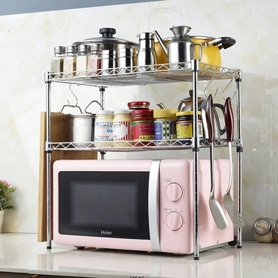 Double Layer Stainless Steel Microwave Shelf Oven Rack Kitchen Storage Holders Racks Free Shipping