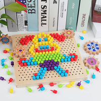 3D Puzzles Toys for Children Creative Mosaic Mushroom Nail Kit Buttons Art Assembling Kids Enlightenment Educational Toys Mosaic
