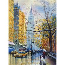 Wall art oil painting canvas season of New York city street landscapes modern colorful artwork for room decor hand painted cir new york esagona wall street 24x27 7