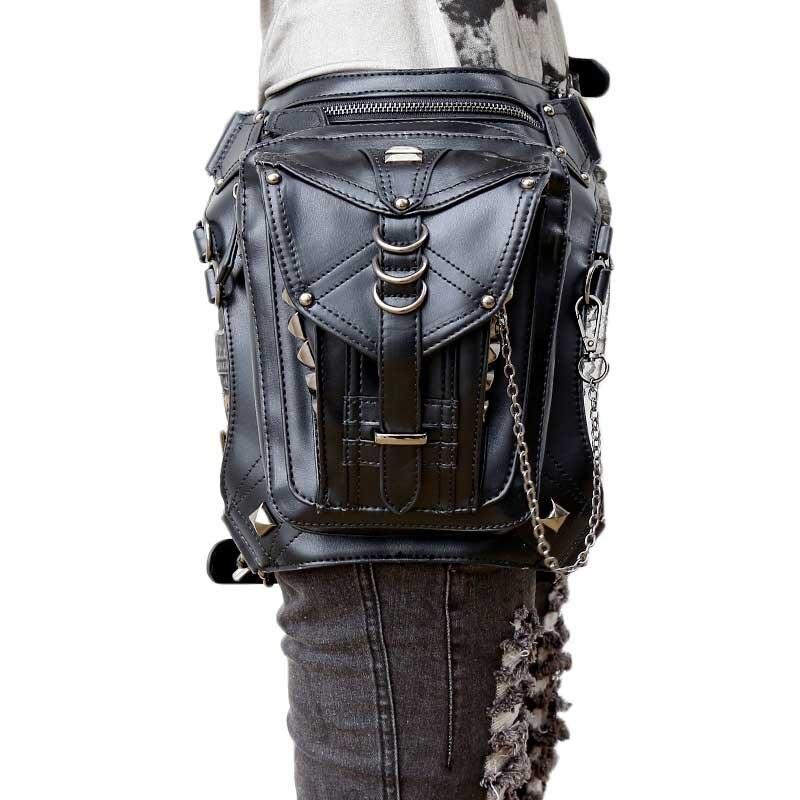 Högkvalitativa kvinnor PU läder droppe ben väska punk rock väska - Bälten väskor - Foto 1