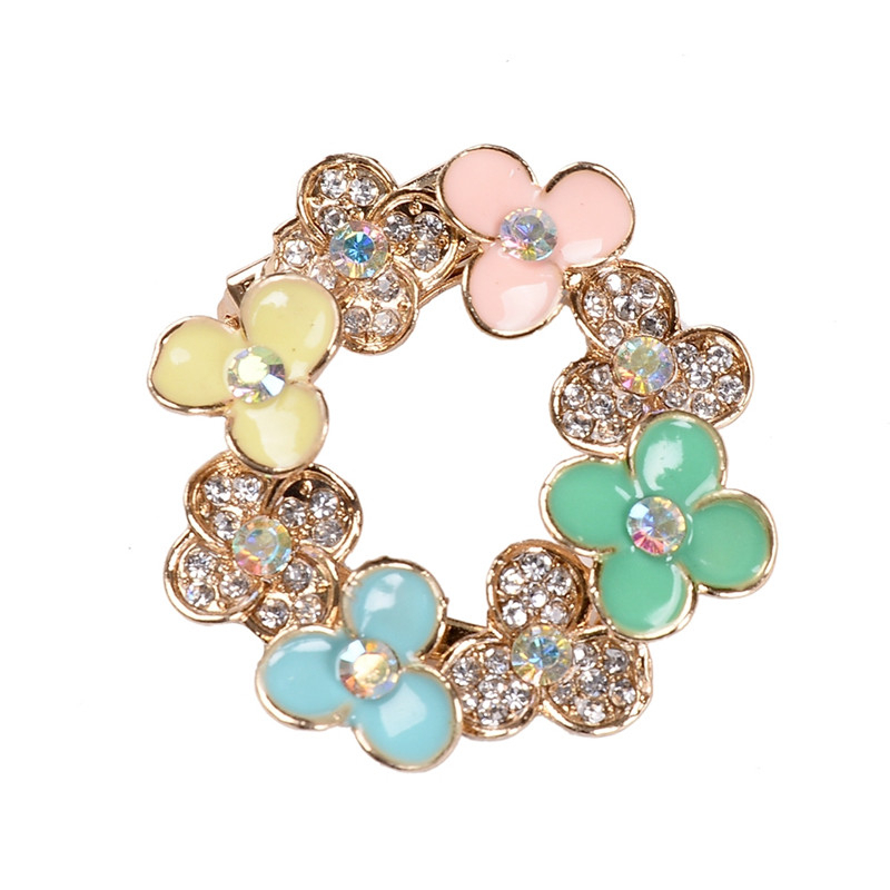 PINKSEE Beautiful Colored Crystal Rhinestone Trendy Garland Flower Brooch Pins for Ladie ...