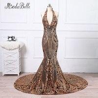 Modabelle Black Gold Long Sequins Evening Dress Mermaid Robe De Celebrity Longue 2018 Halter Backless African