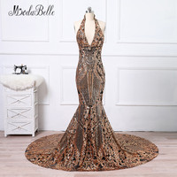 modabelle Black Gold Long Sequins Evening Dress Mermaid Robe De Celebrity Longue 2018 Halter Backless African Prom Gowns