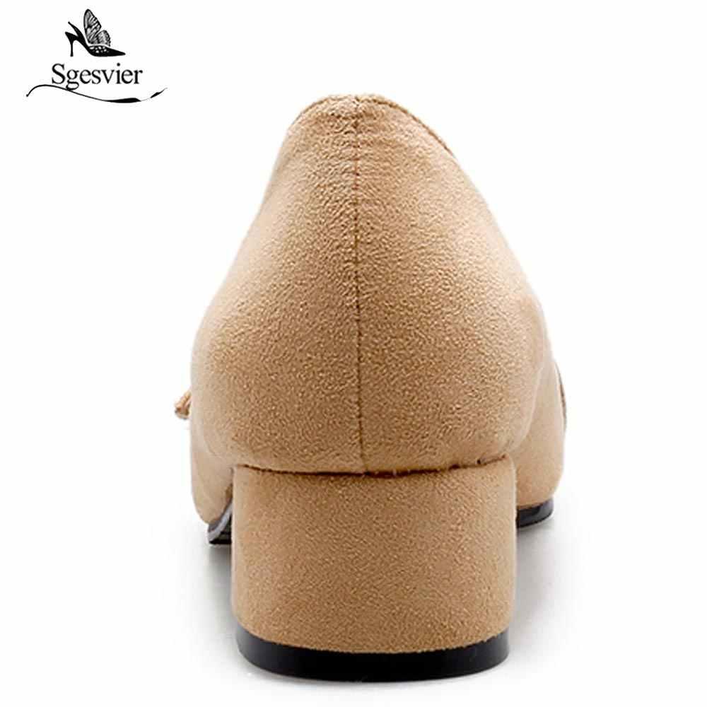 Sgesvier 2018 Herfst Puntschoen Sexy Dikke Hakken Pumps Voor Vrouwen Merk Designer Mary Janes Schoenen B389