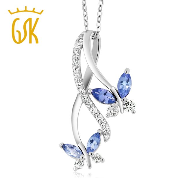 Gemstoneking 1.21 ct marquise tanzanita azul mariposa infinito 925 collar de plata colgante para las mujeres
