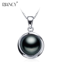 Fashion Natural black pearl pendant necklace for women Elegant freshwater pendants 925 sterling silver jewelry