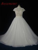 2017 Transparent Top High Neck Wedding Dress Actual Photos Sexy Cap Sleeve Bridal Dress Custome Made
