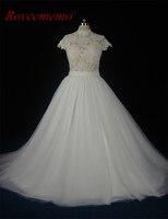 2017 Transparent Top High Neck Wedding Dress Actual Photos Sexy Cap Sleeve Bridal Dress Custome Made