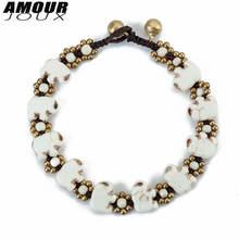 Amourjoux винтажные браслеты ручной работы с белым слоном на