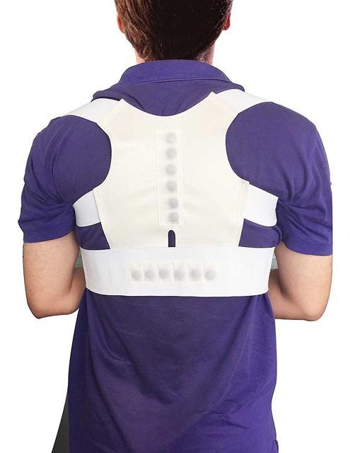 Corrector de espalda Aofeite Unisex ajustable Corrector de postura magnética corsé espalda soporte cinturón ortopédico chaleco negro blanco