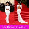 Rihanna White Dress 2014 Met Gala Red Carpet Beaded High Neck Long Sleeve Crop Top Two Piece Prom Dress Open Back Evening Gown