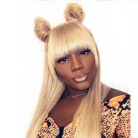 613 Blonde Lace Front Human Hair Wigs With Bang Brazilian 360 Lace Frontal Wig Pre Plucked With Baby Hair Ever Beauty Ever Remy