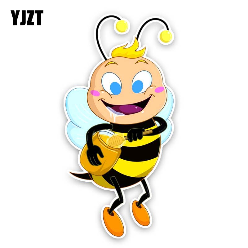 >YJZT 7CM*14CM The Bees Eat <font><b>Delicious</b></font> Honey <font><b>Cartoon</b></font> Creativity Decal Car Sticker <font><b>PVC</b></font> 12-300627