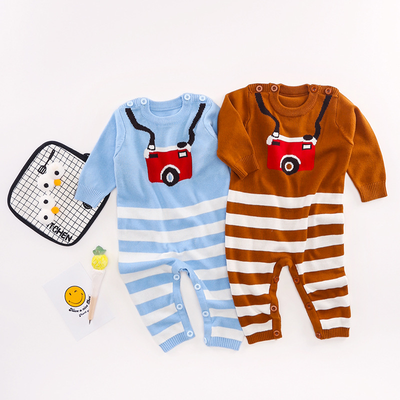 New Arrival Baby Knit Rompers Boys Girls Children Autumn Spring Camera Pattern Clothes Infant Long Sleeve Sweater Onsise Roupas bar iii new plum long sleeve eyelash knit sweater xs $69 5 dbfl