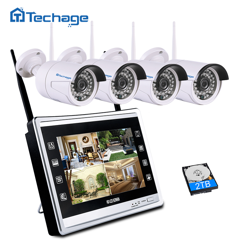 techage 4ch 1080p nvr kit with 11 lcd monitor screen wireless cctv system 2mp ip wifi camera. Black Bedroom Furniture Sets. Home Design Ideas