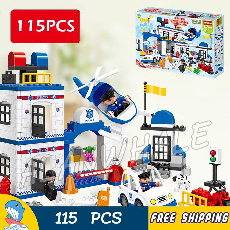 115 pièces Ville mon premier poste de Police Set policier hélicoptère Figure blocs de construction enfants jouets compatibles avec LegoING Duplo