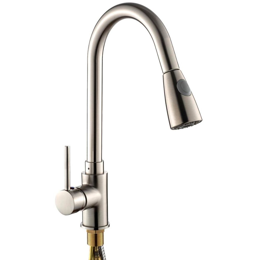 Unique Design Pull Out Spray Brushed Nickel Finish Kitchen Sink Faucet One Handle Spout Spray Swivel
