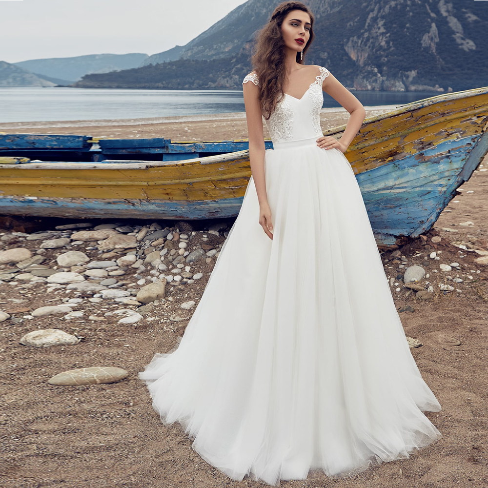 Removable Wedding Gown Dress: Gorgeous Detachable Wedding Dresses Cap Sleeves Bohemian
