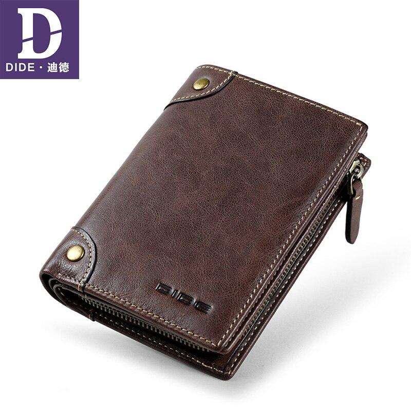 DIDE Men's Wallets Teenage Luxury Brand Card-Holder Coin Purse Clutch Short Boys Genuine-Leather