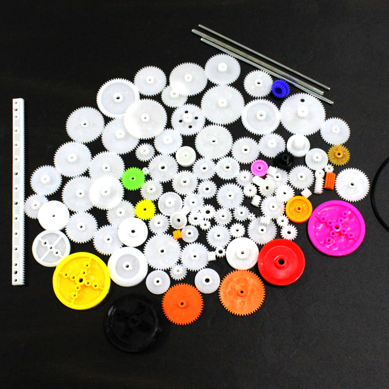106Pcs Plastic Motor Gear Single Double Gearbox Rack <font><b>Pulley</b></font> Worm Toy Parts for DIY Robot <font><b>Car</b></font> Model 4WD Scientific Experiment image