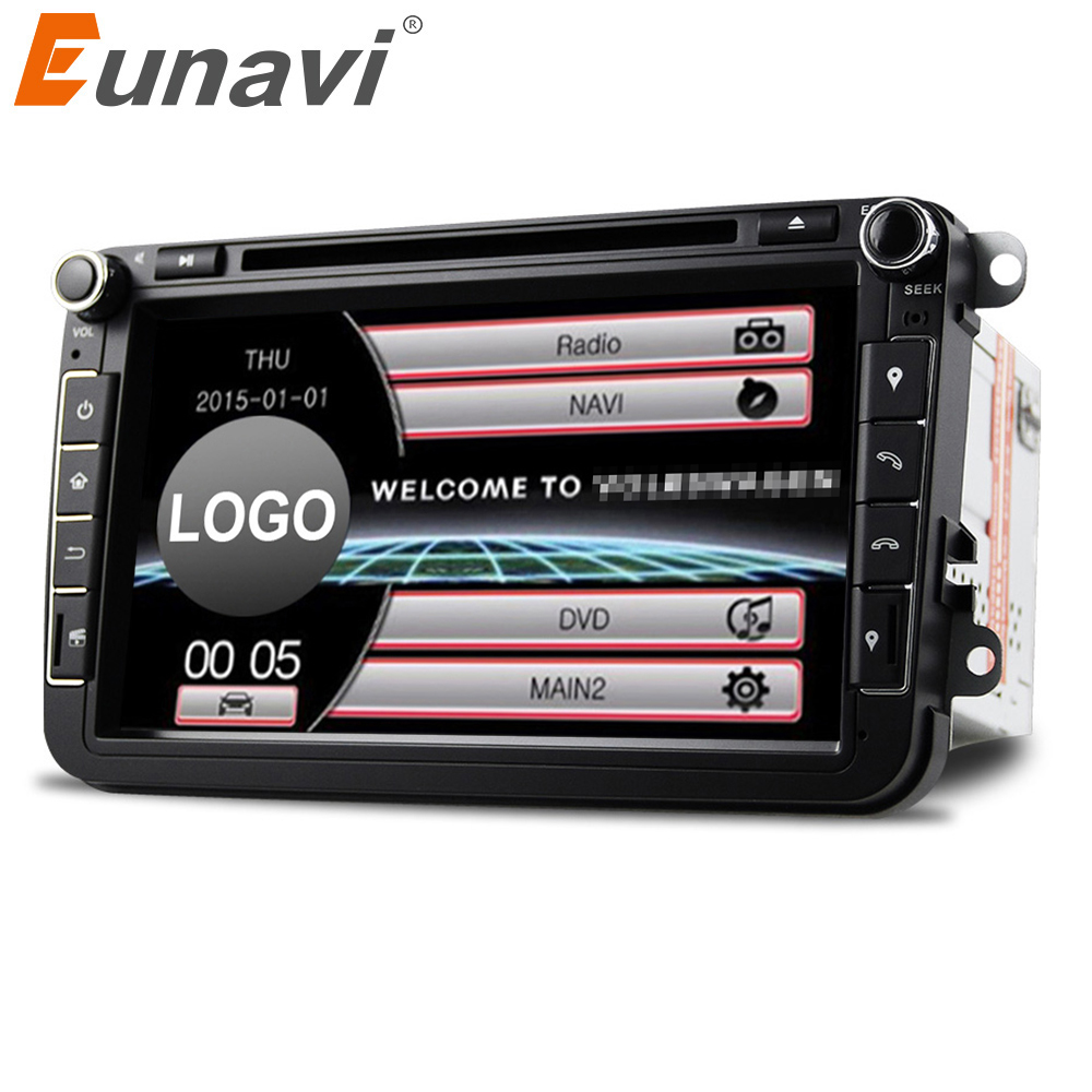 Eunavi 2Din 8'' Car DVD Radio Player GPS Navigation For VW Passat CC Polo GOLF 5 6 Touran EOS T5 Sharan Jetta Tiguan Free camera