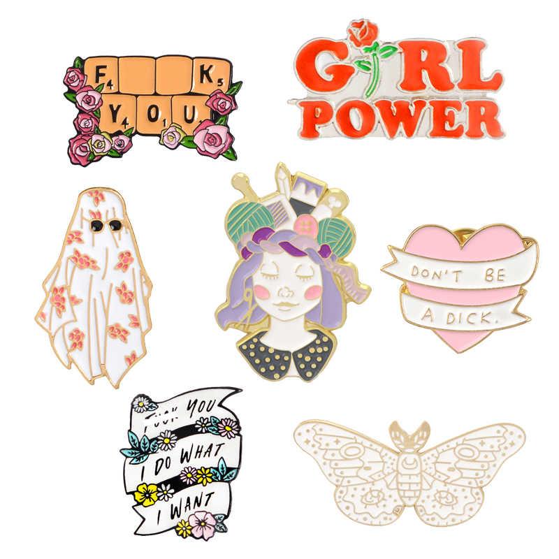 Desain Fashion Girl Power Pin Aku Melakukan Apa Yang Saya Inginkan Bros Lencana Tas Pakaian Enamel Hadiah untuk Teman Perhiasan grosir
