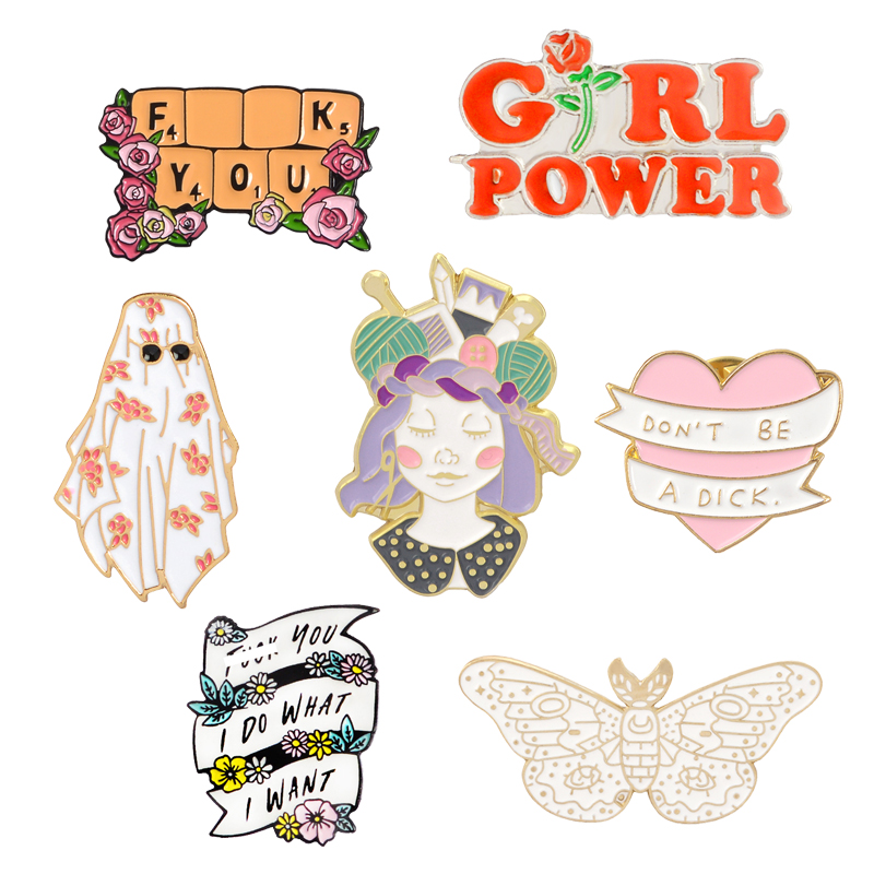 Fashion Design GIRL POWER Pins I DO WHAT I WANT Brooches Badges Bag Clothes Enamel Pins Gifts For Friends Jewelry Wholesale